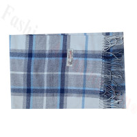 Woven Cashmere Feel Plaid Scarf Z51 Blue/Grey