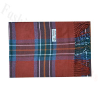 Woven Cashmere Feel Plaid Scarf Z51 Dark Red