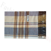 Woven Cashmere Feel Plaid Scarf Z52 Brown/Grey