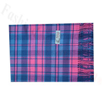 Woven Cashmere Feel Plaid Scarf Z52 Pink/Blue
