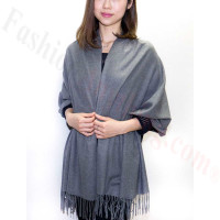 Grey/White Premium Thick Pashmina