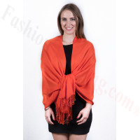 Silky Soft Solid Pashmina Scarf Orange Red