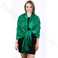Silky Soft Solid Pashmina Scarf Dark Green