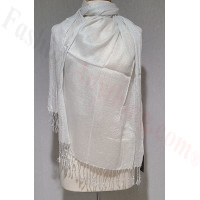 Metallic Solid Sheer Scarf White/Silver