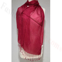 Metallic Solid Sheer Scarf Dark Red