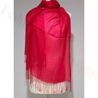 Metallic Solid Sheer Scarf Red