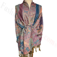 Paisley Flowers Pashmina Pale Voilet Red