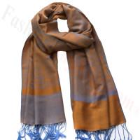 Paisley Jacquard Pashmina Orange w/ Light Blue