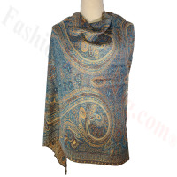 Paisley Patterned Pashmina Blue