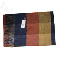 Cashmere Feel Pattern Scarf Navy/Yellow