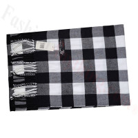 Cashmere Feel Pattern Scarf Black/White
