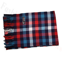 Cashmere Feel Pattern Scarf Red/Blue