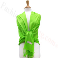 Lime Green Solid Pashmina Label Scarf