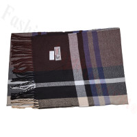 Cashmere Feel Pattern Scarf Coffee/Black