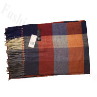 Cashmere Feel Pattern Scarf Orange/Grey