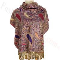 Classic Thicker Paisley Shawl Purple
