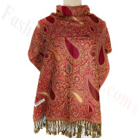Classic Thicker Paisley Shawl Red