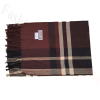 Cashmere Feel Pattern Scarf 35-4 Brown