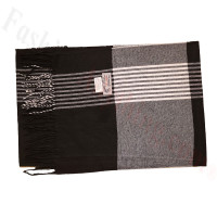 Cashmere Feel Pattern Scarf 36-2 Black/White