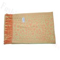 Cashmere Feel Leopard Scarf Orange/Green
