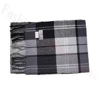 Cashmere Feel Pattern Scarf Dark Grey/Black