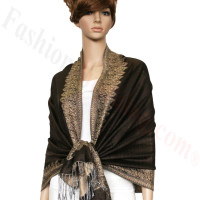 Border Patterned Pashmina label Coffee