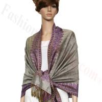 Border Patterned Pashmina Beige w/ Purple