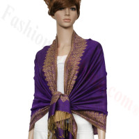 Border Patterned Pashmina label Purple