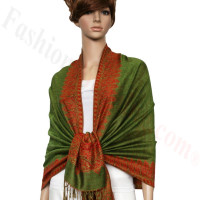 Border Patterned Pashmina label Grass Green