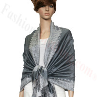 Border Patterned Pashmina Grey