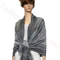 Border Patterned Pashmina Silver