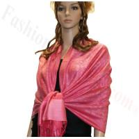 Paisley Jacquard Pashmina Cerise Pink