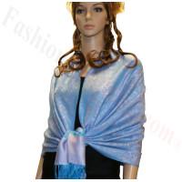 Paisley Jacquard Pashmina Light Blue w/ Pink