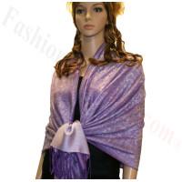 Paisley Jacquard Pashmina Purple w/ Grey