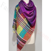 Stripe Paisley Shawl Purple