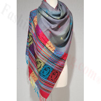 Stripe Paisley Shawl Light Grey