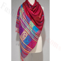 Stripe Paisley Shawl Dark Red