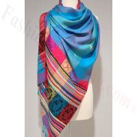 Stripe Paisley Shawl Blue