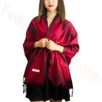 Rose & Leaf Pashmina Jujuba Red
