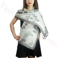 Rose & Leaf Pashmina Grey