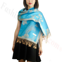 Rose & Leaf Pashmina Teal