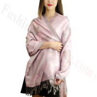 Rose & Leaf Pashmina Grey / Pink