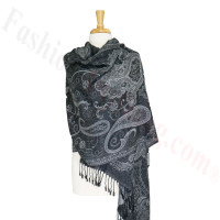 Gorgeous Paisley Flower Pashmina Label black/white