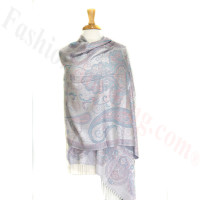 Gorgeous Paisley Flower Pashmina label white