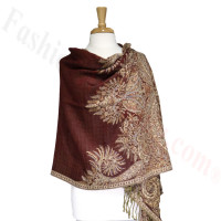 Phoenix Tail Thicker Label Pashmina Dark Red