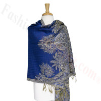 Phoenix Tail Thicker Label Pashmina Royal Blue