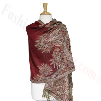 Phoenix Tail Thicker Label Pashmina Red