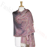 Phoenix Tail Thicker Label Pashmina Grey/Pink