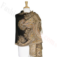 Phoenix Tail Thicker Label Pashmina Black/Gold