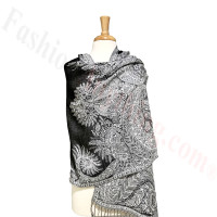 Phoenix Tail Thicker Label Pashmina Black/White